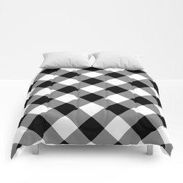 Gingham Plaid Black & White Comforters