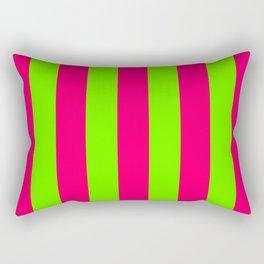 Bright Neon Green and Pink Vertical Cabana Tent Stripes Rectangular Pillow