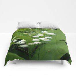 Pure White Lily of the Valley Flower Macro Photograph Comforters