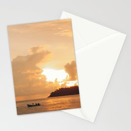 Clouded sunset, warm sunset Stationery Cards