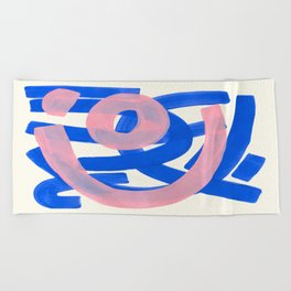 Tribal Pink Blue Fun Colorful Mid Century Modern Abstract Painting Shapes Pattern Beach Towel