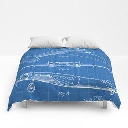 Lockheed Airplane Patent - Electra Aeroplane Art - Blueprint Comforters