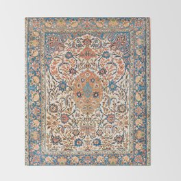 Isfahan Antique Central Persian Carpet Print Throw Blanket