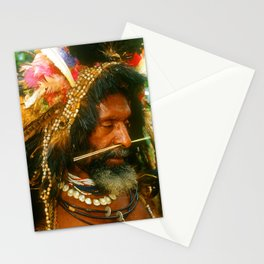 Papua New Guinea Pensive Sing Sing Villager Stationery Cards