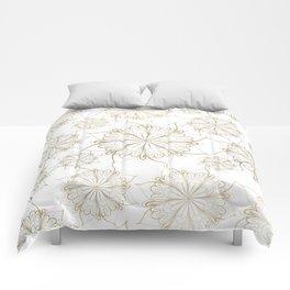 Elegant hand painted gold floral mandala Comforters