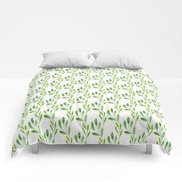 green watercolor vines Comforters