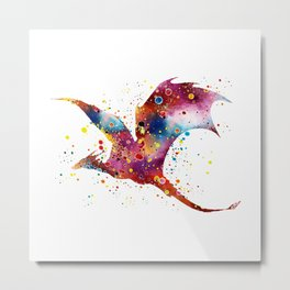 Dragon Art Colorful Watercolor Art Gift Dungeon and Dragons Fantasy Art Kids Gifts Metal Print