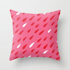 Red + Pink Droplets Throw Pillow