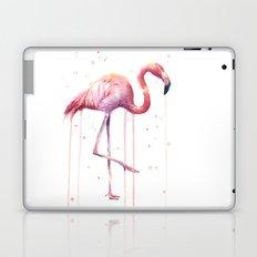 Pink Flamingo Portrait Watercolor Animals Birds | Facing Right Laptop & iPad Skin