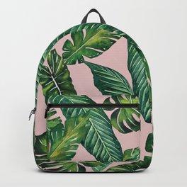 Jungle Leaves, Banana, Monstera II Pink #society6 Rucksack