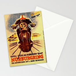 Vintage Nurburgring Nordschleife Motorcycle Racing Poster, Circa 1947 Stationery Cards
