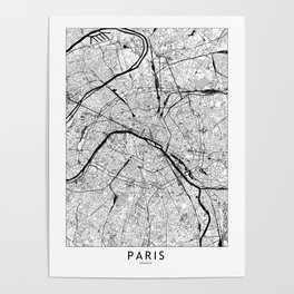 Paris Black and White Map Poster