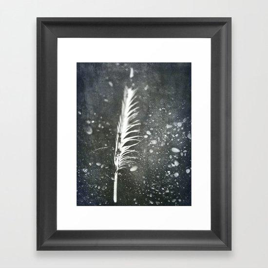 Feather on Black Sand Beach Framed Art Print