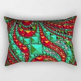 Abstract Gems in Aqua and Red Rectangular Pillow