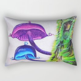 Two Mythical Mushrooms Growing on a Mossy Tree Limb Rectangular Pillow