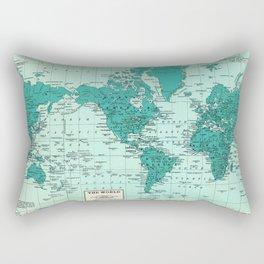 World Map in Teal Rectangular Pillow