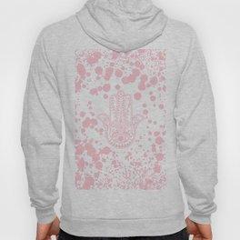 Modern blush pink confetti Hamsa Hand Of Fatima Hoody