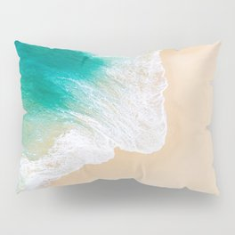 Sand Beach - Waves - Drone View Photography Pillow Sham