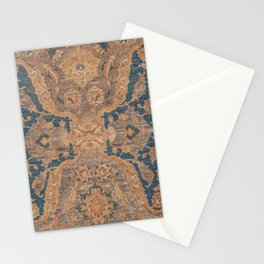 Persian Motif I // 17th Century Ornate Rose Gold Silver Royal Blue Yellow Flowery Accent Rug Pattern Stationery Cards