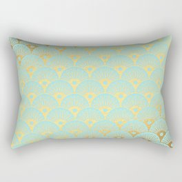 Art Deco Mermaid Scales Pattern on aqua turquoise with Gold foil effect Rectangular Pillow