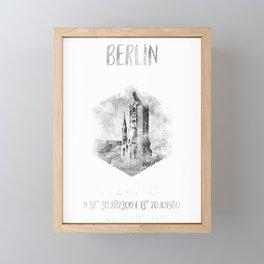 Coordinates BERLIN | monochrome watercolor Framed Mini Art Print
