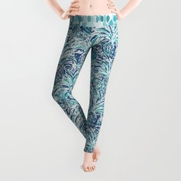 PINEAPPLE WAVE Blue Painterly Watercolor Leggings