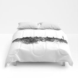 Black and white Berlin watercolor skyline Comforters