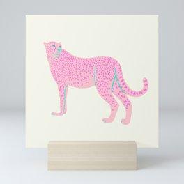 PINK STAR CHEETAH Mini Art Print