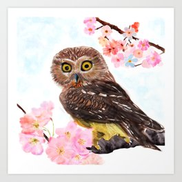 Owl on a Branch with Flowers Art Print