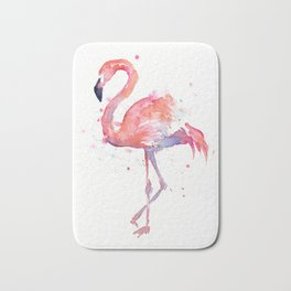 Flamingo Watercolor Bath Mat
