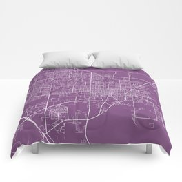 Gainesville Map, USA - Purple Comforters