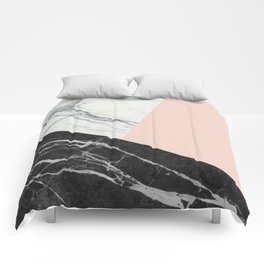 Black and White Marble with Pantone Pale Dogwood Comforters