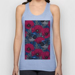 Fairy wren and poppies Unisex Tank Top