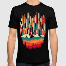 Sunset in Vertical Multicolor MEDIUM Mens Fitted Tee Black