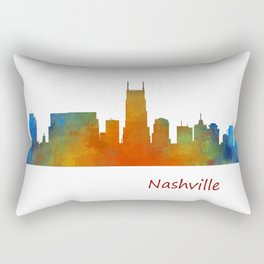 nashville city skyline Tennessee watercolor v1 Rectangular Pillow