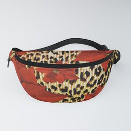 Animal Print Leopard and Red Poinsettia Fanny Pack