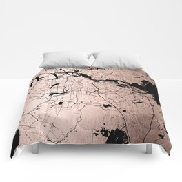 Amsterdam Rosegold on Black Street Map Comforters