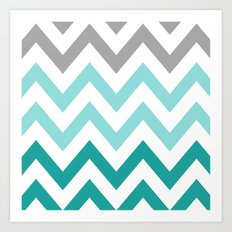 TEAL FADE CHEVRON Art Print