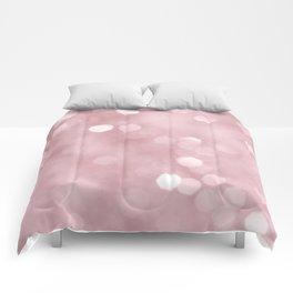 Rose Gold Blush Bokeh #1 #shiny #decor #art #society6 Comforters