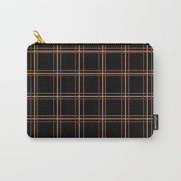 ARREST multi colour lines plaid pattern on black Carry-All Pouch