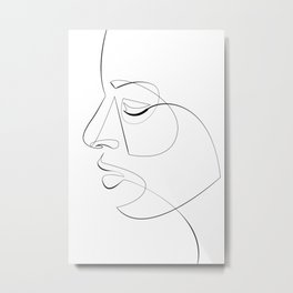 Minimalist Face Line Illustration No.3 Metal Print