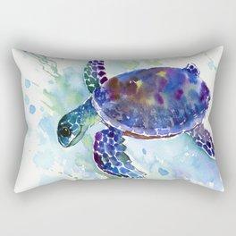 Happy Sea Turtle, aquatic marine blue purple turtle illustration Rectangular Pillow
