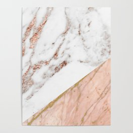 Marble rose gold blended Poster