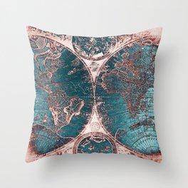 Antique World Map Pink Quartz Teal Blue by Nature Magick Throw Pillow