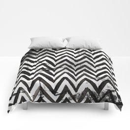 Black Chevron Stripes Boho Designs soutwestern goth Comforters