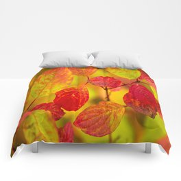 Red autumn leaves #decor #society6 Comforters