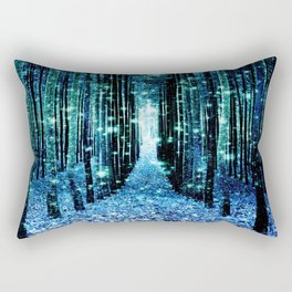 Magical Forest Teal Turquoise Rectangular Pillow