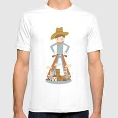 Cowboy in a lonely town MEDIUM White Mens Fitted Tee
