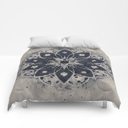 Mandala Blue Bohemian Geometic Abstract Comforters