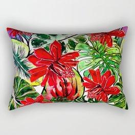 Exotic Passiflora Flowers Jungle Aloha Pattern Rectangular Pillow
